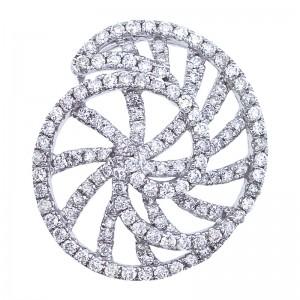 14K White Gold .88 Ct Diamond Shell Fashion Pendant