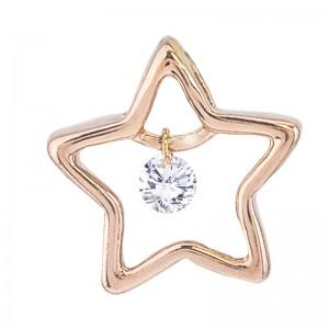 14K Rose Gold Star Dashing Diamond Pendant