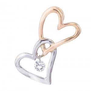 14K Two Tone Rose and White Gold Interlocking Hearts Dashing Diamond Pendant