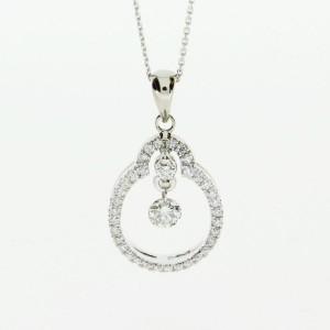 14K Oval Dashing Diamonds Pendant