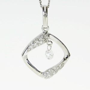 14K White Gold .14 Ct Dashing Diamonds Square Pendant