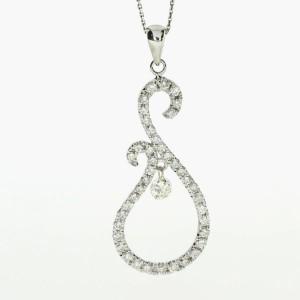 14k White Gold Musical Dashing Diamonds Pendant