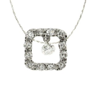 14K White Gold .27 Ct Dashing Diamond Square Pendant