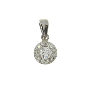 14k White Gold .24 ct Diamond Halo Pendant
