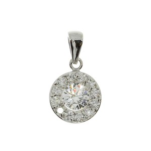 14k White Gold .51 ct Diamond Halo Pendant