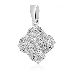 14k White Gold Clover Cluster Diamond Pendant