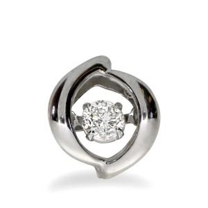 14K White Gold .15 Ct Dashing Diamond Heartbeat Solitaire Pendant