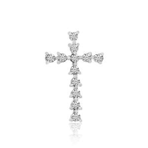 14K White Gold .12 CT Small Diamond Cross Pendant