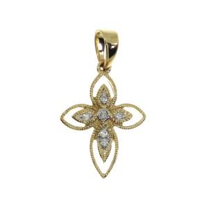 14K Yellow Gold Small Rope Diamond Fashion Cross