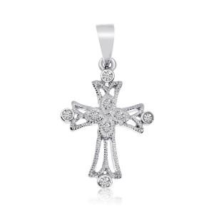 14K White Gold Small Millgrain Diamond Cross
