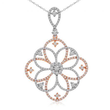 14K Two Tone White and Rose Gold Diamond Fashion Pendant