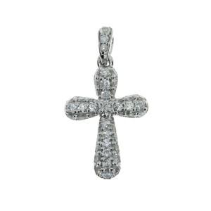 14K White Gold Diamond Pave Fashion Cross Pendant