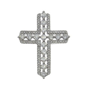 14K White Gold Large Diamond Cross Pendant