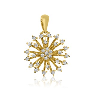 14K Yellow Gold Diamond Starburst Fashion Pendant