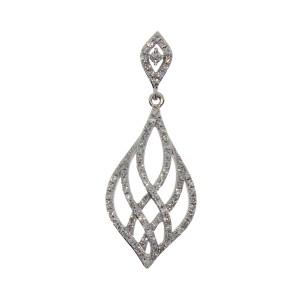 14K White Gold Diamond Teardrop Fashion Pendant