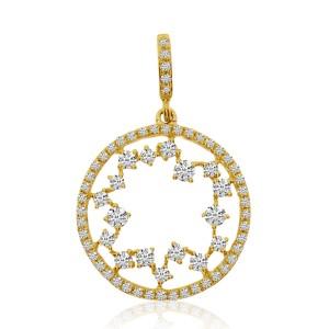14K Yellow Gold Diamond Starburst Round Fashion Pendant