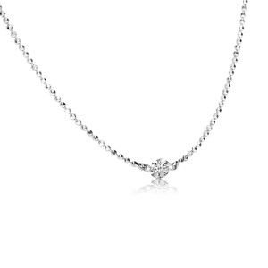 14K White Gold Single Dashing Diamond .15 ct 16 inch Necklace