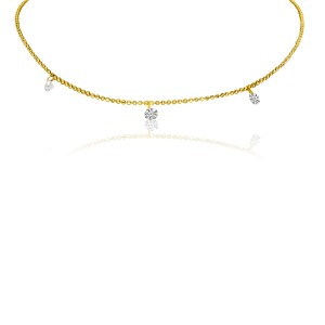 14K Yellow Gold Diamond By the Yard .30 Ct Dashing Diamond 18 inch Necklace