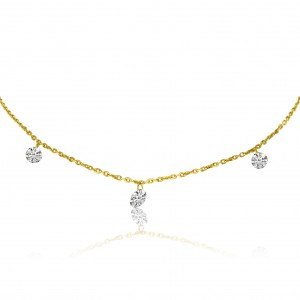 14K Yellow Gold Graduated Diamond By the Yard .55 Ct Necklace