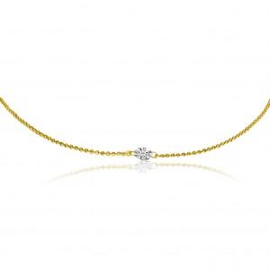 14K Yellow Gold 18 inch Single .25 Ct Diamond by the Yard Dashing Diamond Neckla
