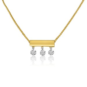 14K Yellow Gold 3 Diamond Bar Dashing Diamond 18 inch Sliding Necklace