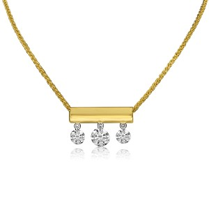 14K Yellow Gold 3 Diamond Bar Dashing Diamond 18 inch Sliding Necklace