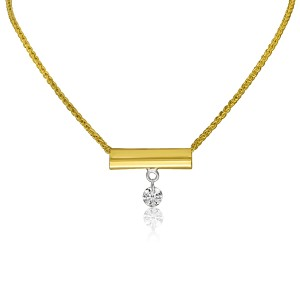 14K Yellow Gold Single Diamond Bar Dashing Diamond Fashion 18 inch Necklace
