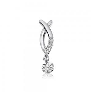 14K White Gold .12 Ct Dashing Diamond Fashion Pendant
