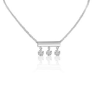 14K White Gold Three Diamond Bar Dashing Diamond Fashion Necklace