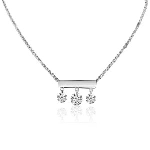 14K White Gold 3 Diamond Bar Dashing Diamond 18 inch Fashion Necklace