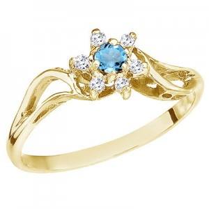 10K Yellow Gold Blue Topaz and Diamond Star Ring