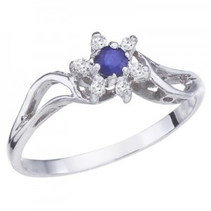 10K White Gold Sapphire and Diamond Star Ring