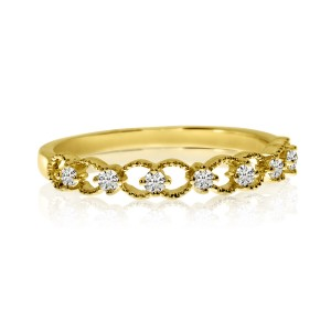 14K Yellow Gold Diamond Braided Stackable Band