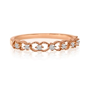 14K Rose Gold Diamond Braided Stackable Band