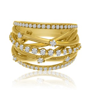 14K Yellow Gold Fancy Puzzle Diamond Fashion Ring