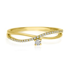 14K Yellow Gold Diamond Bypass Stackable Ring