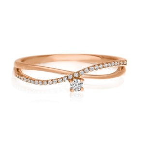 14K Rose Gold Diamond Bypass Stackable Ring