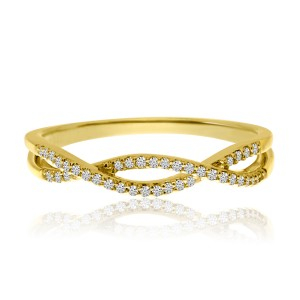 14K Yellow Gold Diamond Flowing X Stackable Ring