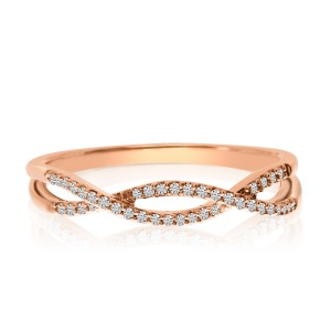 14K Rose Gold Diamond Flowing X Stackable Ring
