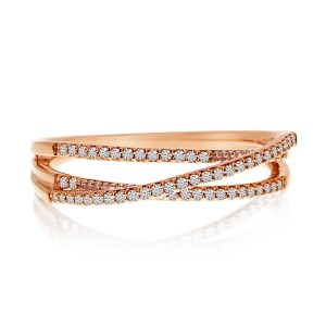 14K Rose Gold Diamond Overpass Stackable Ring