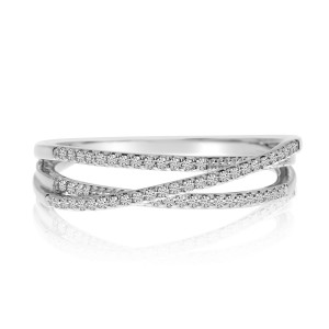 14K White Gold Diamond Overpass Stackable Ring
