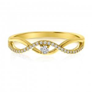 14K Yellow Gold Diamond Wave Stackable Ring