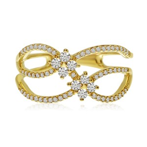 14K Yellow Gold Double Diamond Crossover Fashion Ring