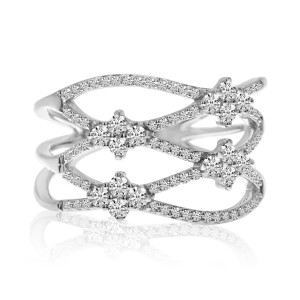 14K White Gold Diamond Criss Cross Fashion Ring