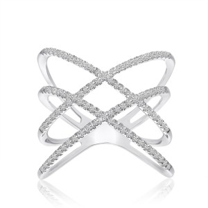 14K White Gold Triple X Diamond Fashion Ring