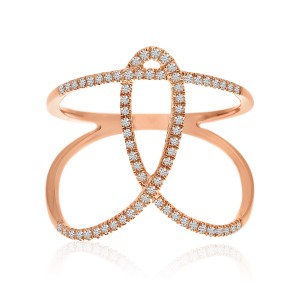 14K Rose Gold Knot Bypass Diamond Fashion Ring