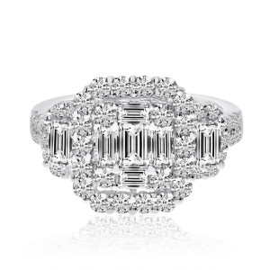 14K White Gold 2.35 Ct. Baguette and Round Diamonds Cushion Shape Ring