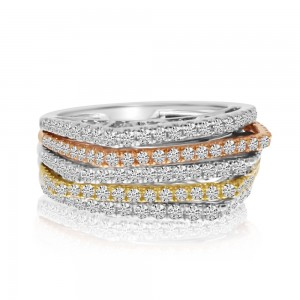 14K Tri Color Rose White and Yellow Gold 5 Row Diamond Fashion Ring