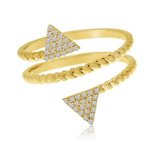 14K Yellow Gold Offset Diamond Triangles Twisted Fashion Ring