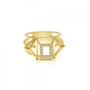 14K Yellow Gold Triangle and Square Geometric Diamond Fashion Ring